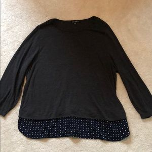 J. Crew gray top with attached polka dot blouse 3X